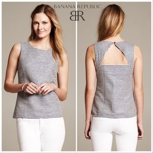 Banana Republic Structured Striped Keyhole Top